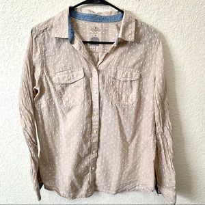 St. John's Bay Spotted Button Up Blouse Med